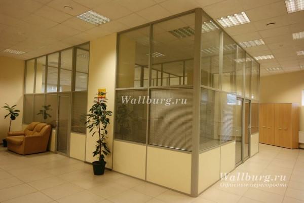 Комбинированные офисные перегородки вариант 15