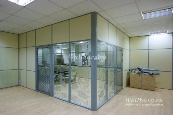 Комбинированные офисные перегородки вариант 21