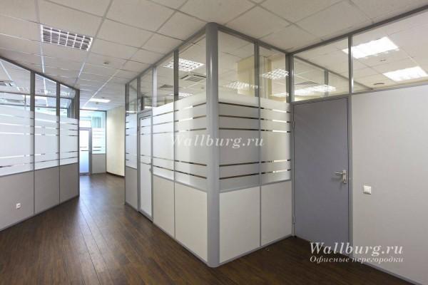 Комбинированные офисные перегородки вариант 9